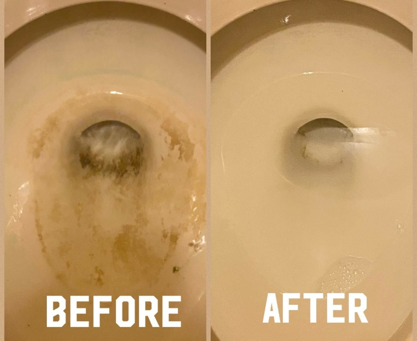 a split reviewer image of a toilet before and after using the pumice stone scrubber