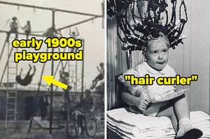 """an old playground that looks super dangerous, with a kid photographed falling several feet, and a vintage permanent hair curler that involves multiple """"curlers"""" and tubes being attached to the head"""