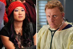 Jenna Ushkowitz as Tina in Glee and Kevin McKidd as Owen in Grey's Anatomy