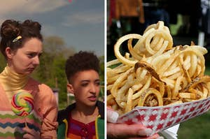 Two girls are at a carnival on the left with a woman holding fries on the right