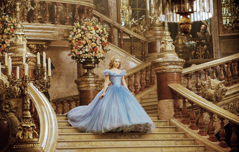 Cinderella wearing an off-the-shoulder ballgown