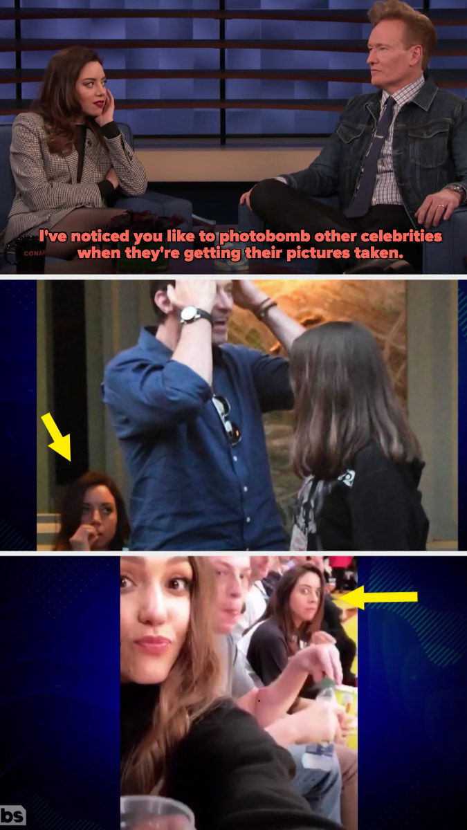 Conan O'Brien saying how he's noticed that she likes to photobomb other celebrities, and then two photos showing her photobombing