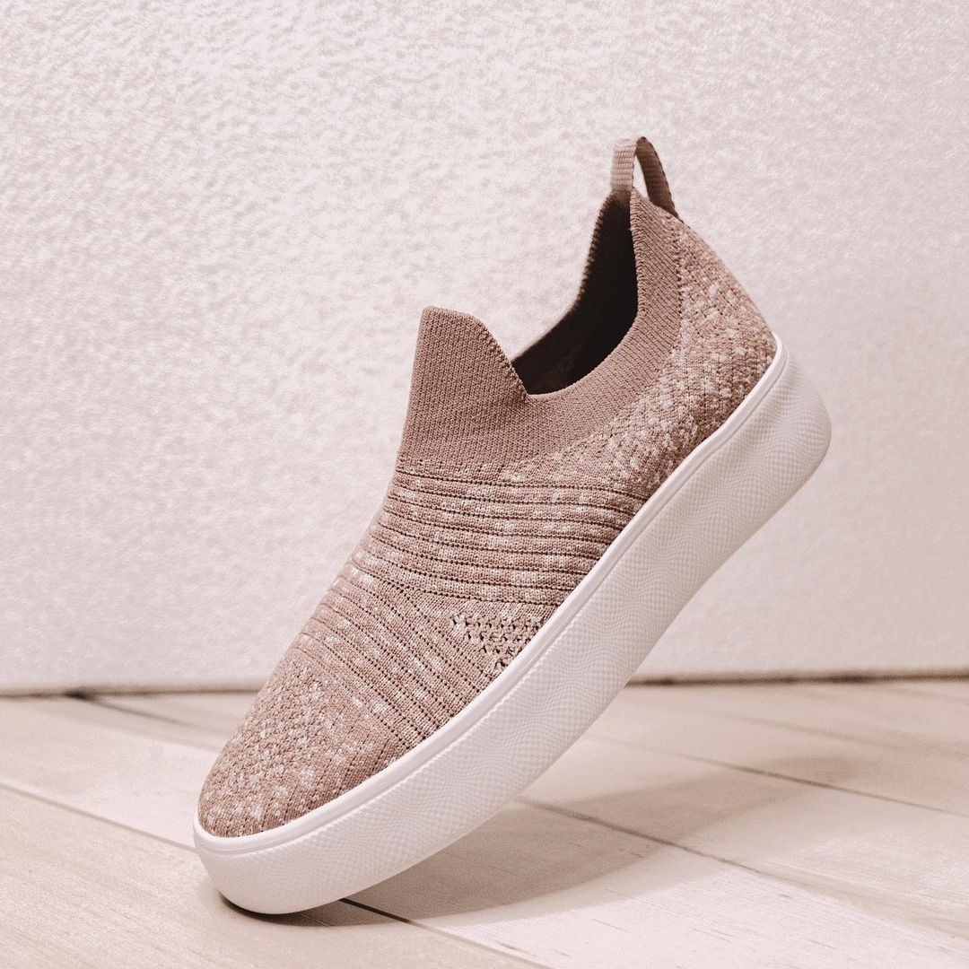 taupe and white knit pull-on sneakers