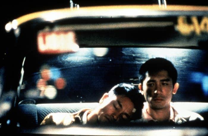 Leslie Cheung, Tony Leung Chiu-wai in a car