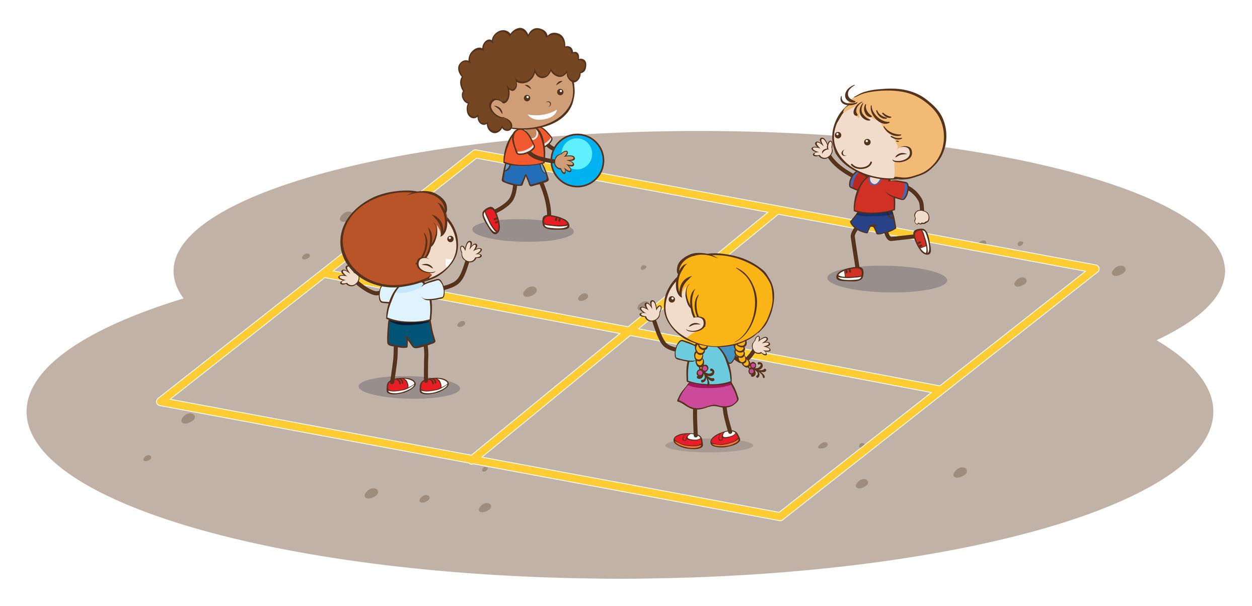 Some cartoon children playing handball
