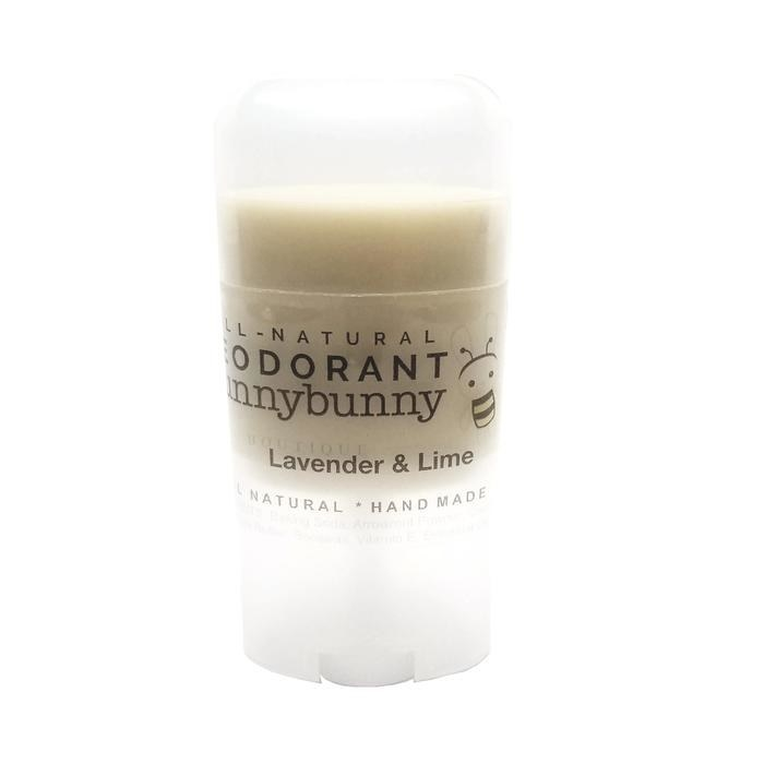 a tube of hunnybunny's lavender and lime scented deodorant