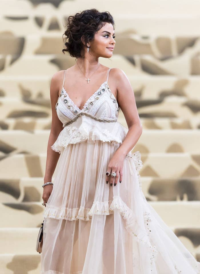 Selena Gomez is seen arriving to the Heavenly Bodies: Fashion & The Catholic Imagination Costume Institute Gala