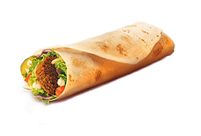 wrap filled with three falafel pieces, lettuce, tomato, cheese, pickles, onions, and tahini
