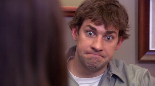 """Jim from the office making a """"this is bad"""" face"""