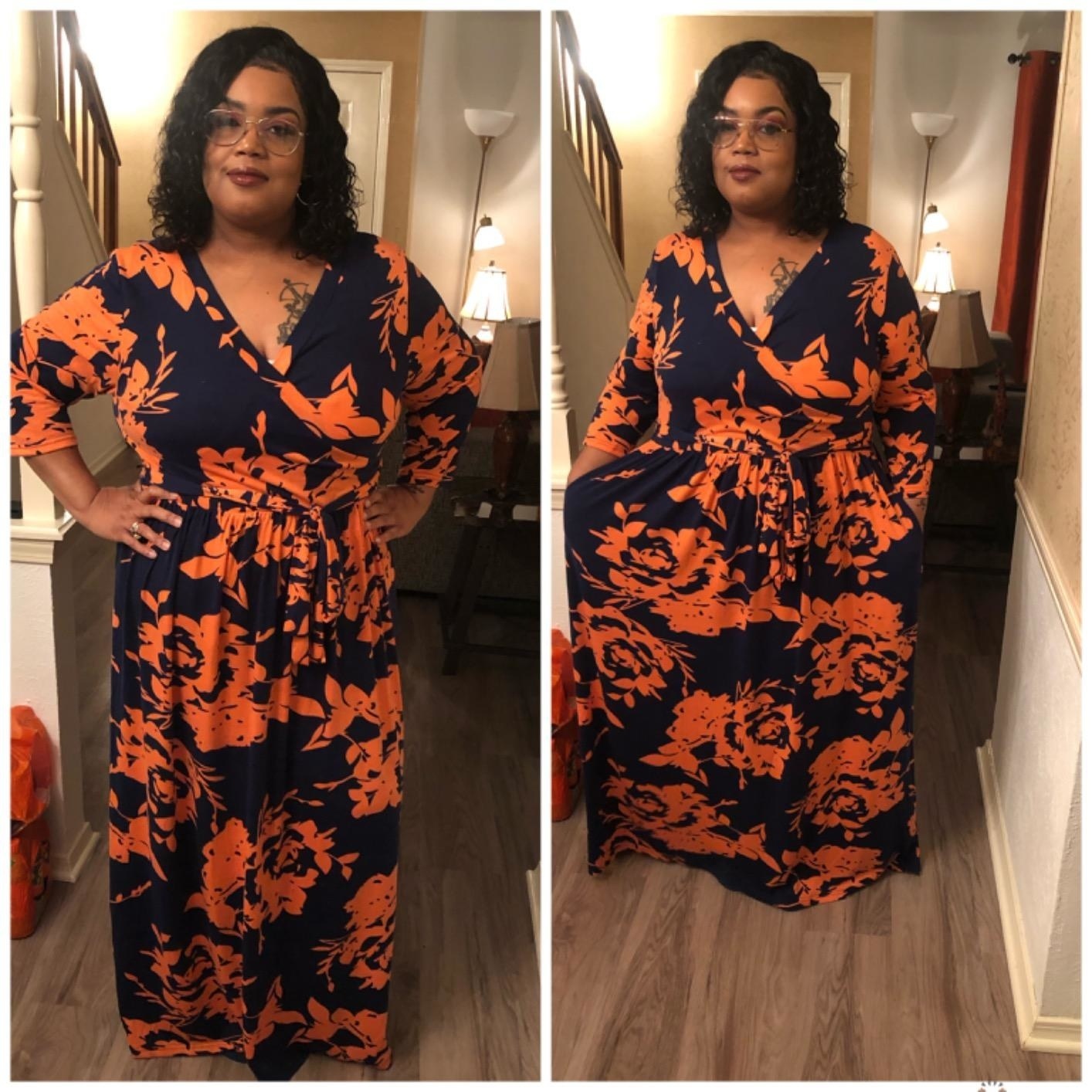 Reviewer wearing the orange printfloral print casual party dress