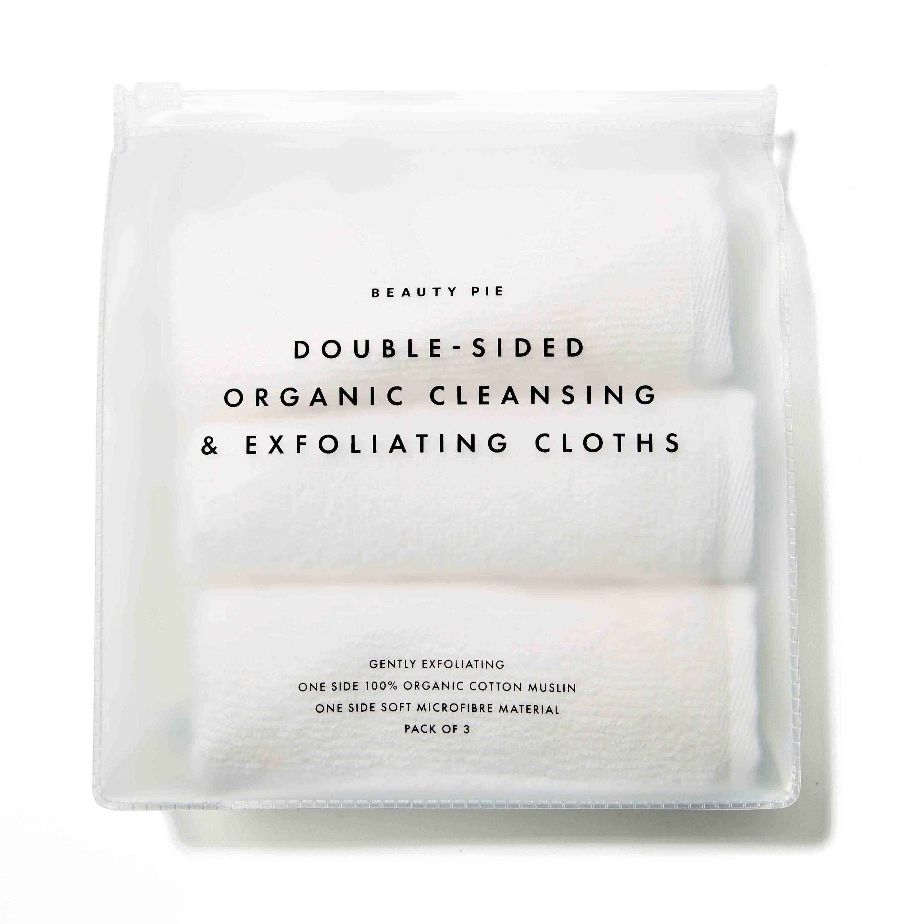 Clear package containing three white cloths.