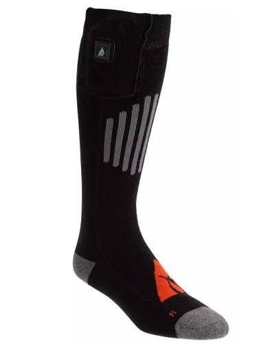 A black sock with gray heels and a bit of orange