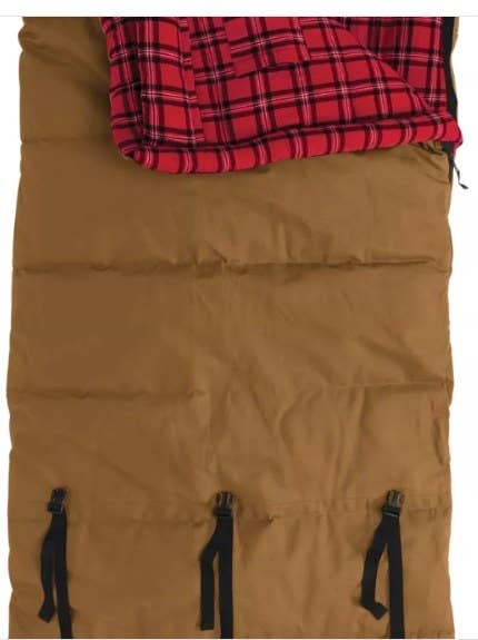 A brown sleeping bag with red flannel lining