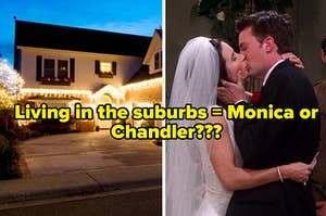 """A house with lit up Christmas lights hanging from it's roof and Monica Geller and Chandler Bing kiss on their wedding day in """"Friends"""""""