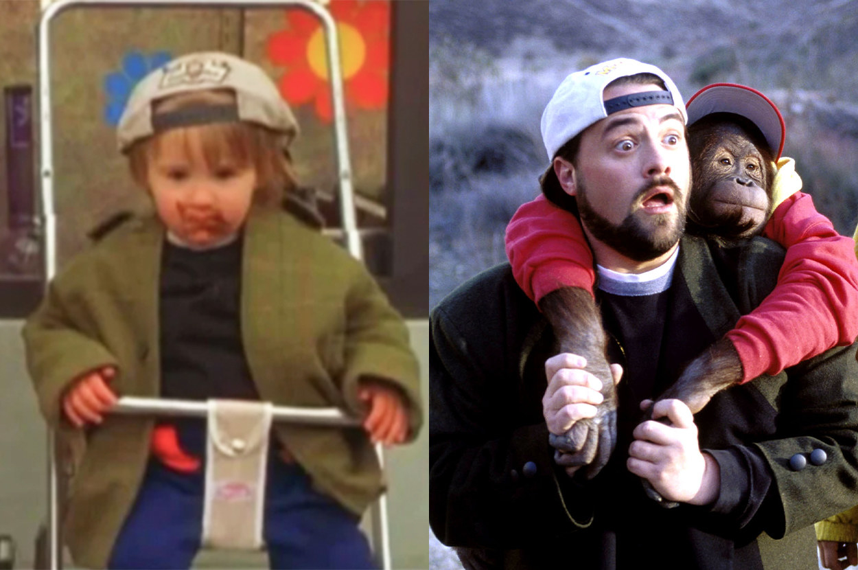 baby Silent Bob sits in a swing