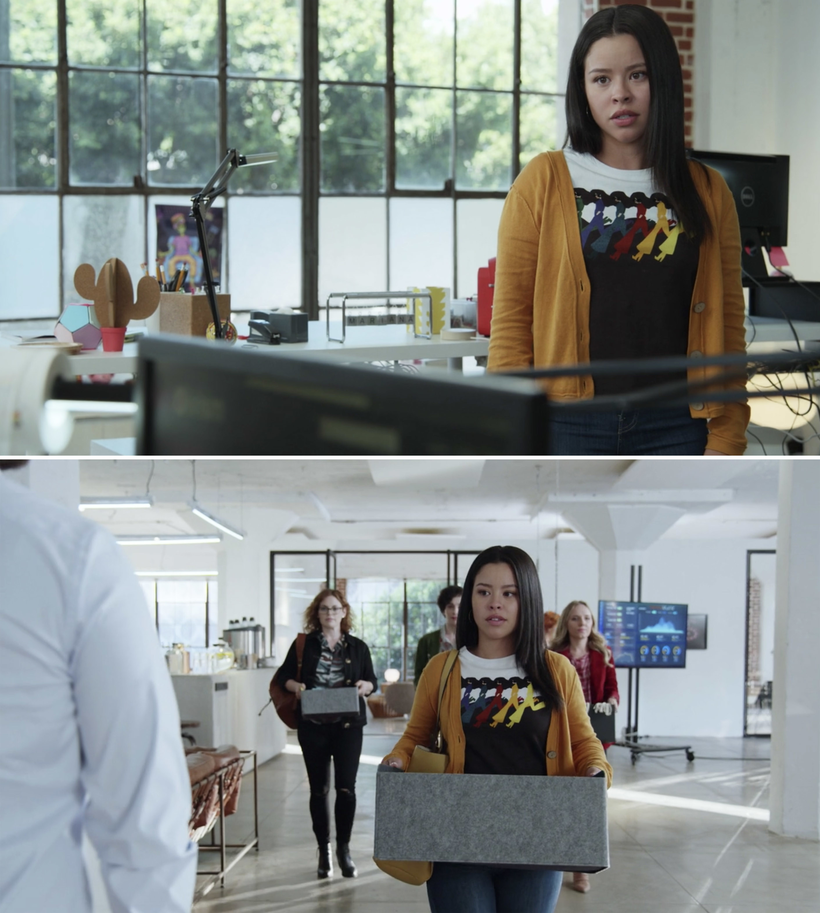 Mariana walking out of Speckulate with her team