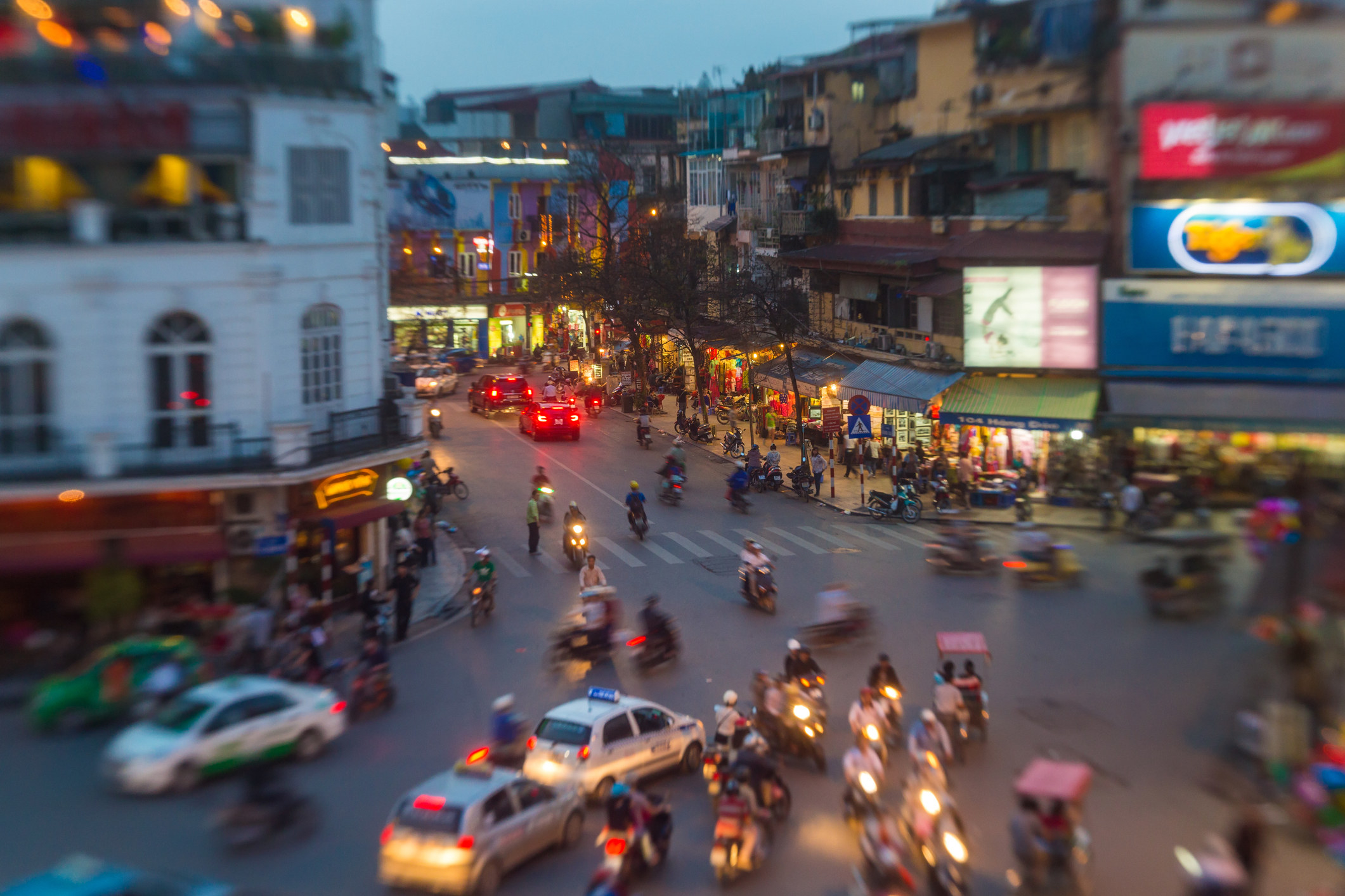 A busy intersection in Hanoi, Vietnam.