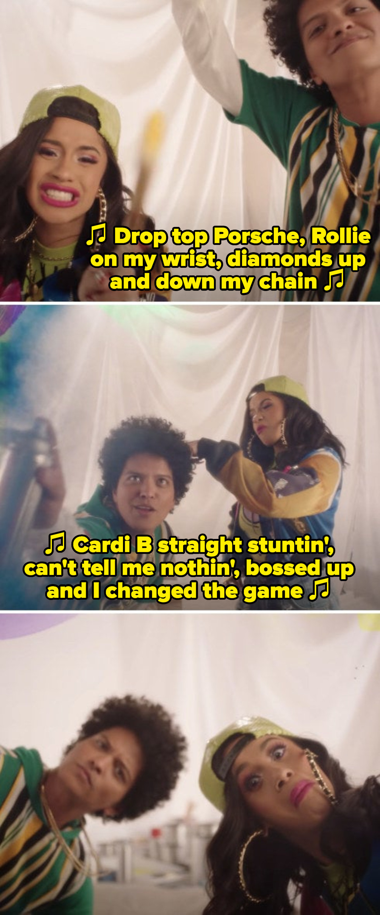 """Cardi B and Bruno Mars in their """"Finesse (Remix)"""" music video, rapping: """"Cardi B straight stunin', can't tell me nothin', bossed up and I changed the game"""""""