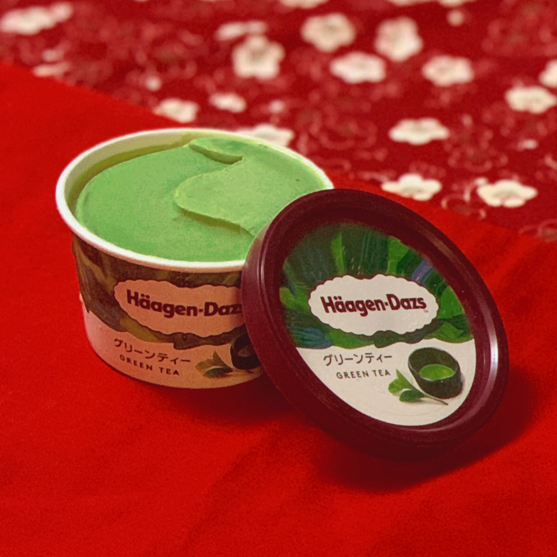 A tub of green tea flavoured Häagen-Dazs ice cream