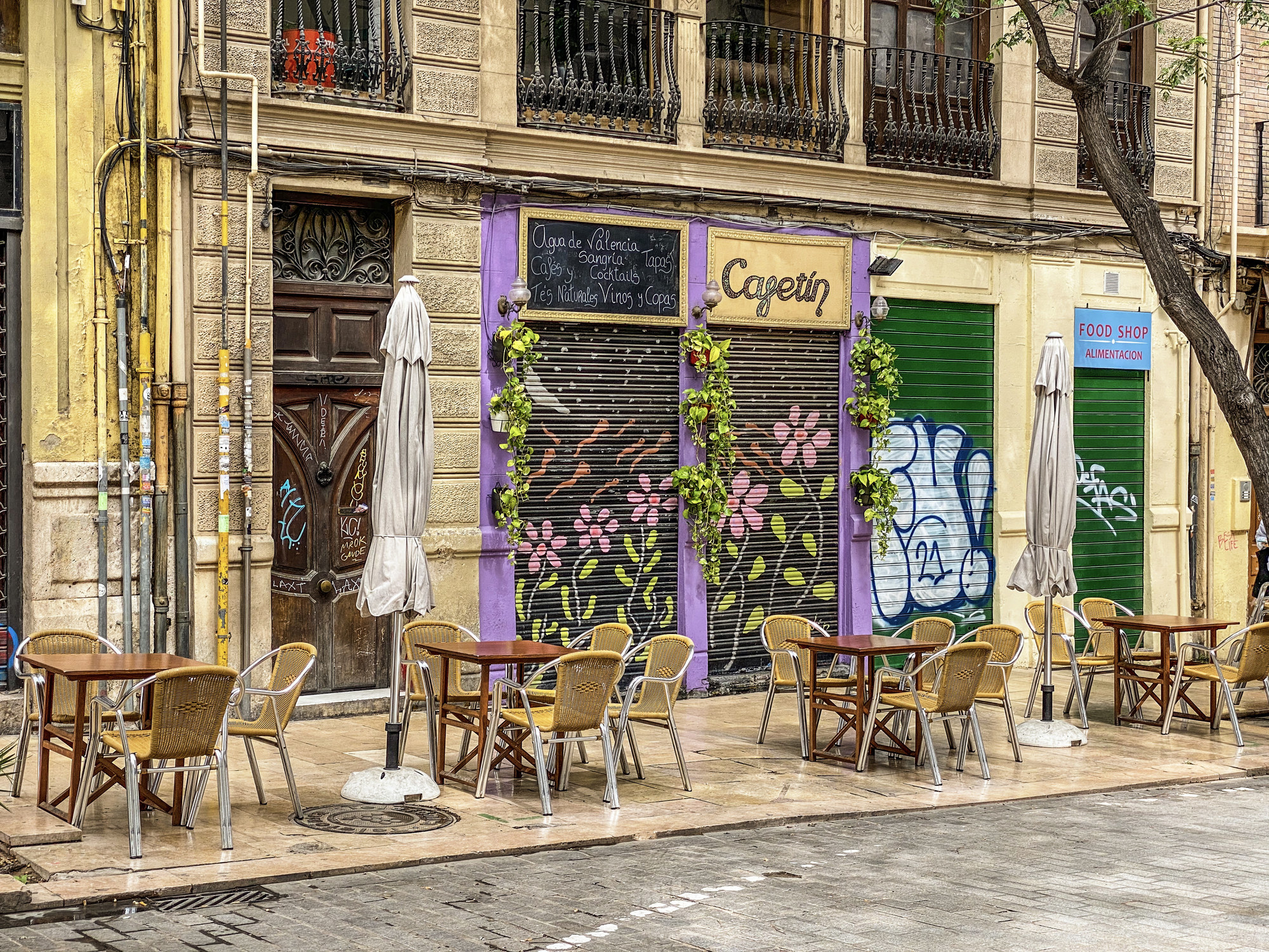 A Spanish restaurant that is closed.