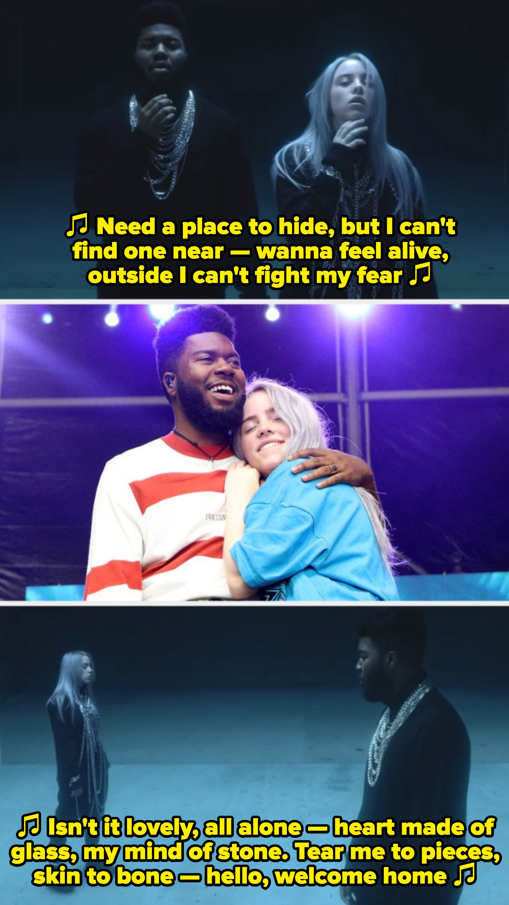"""Eilish and Khalid performing live together at Governor's Ball in 2018; Eilish and Khalid in their """"lovely"""" music video, singing: """"Need a place to hide, but I can't find one near — wanna feel alive, outside I can't fight my fear"""""""