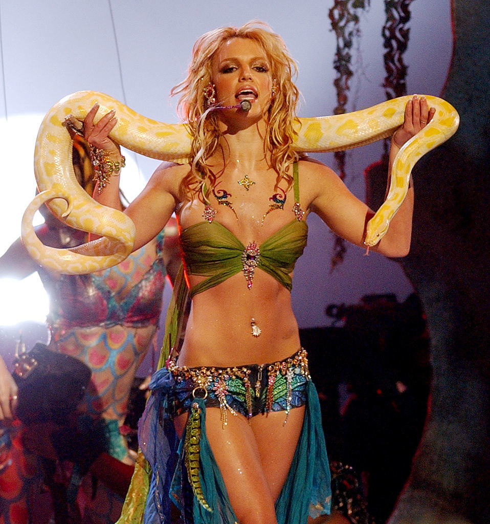 Spears performing with a snake at the VMAs