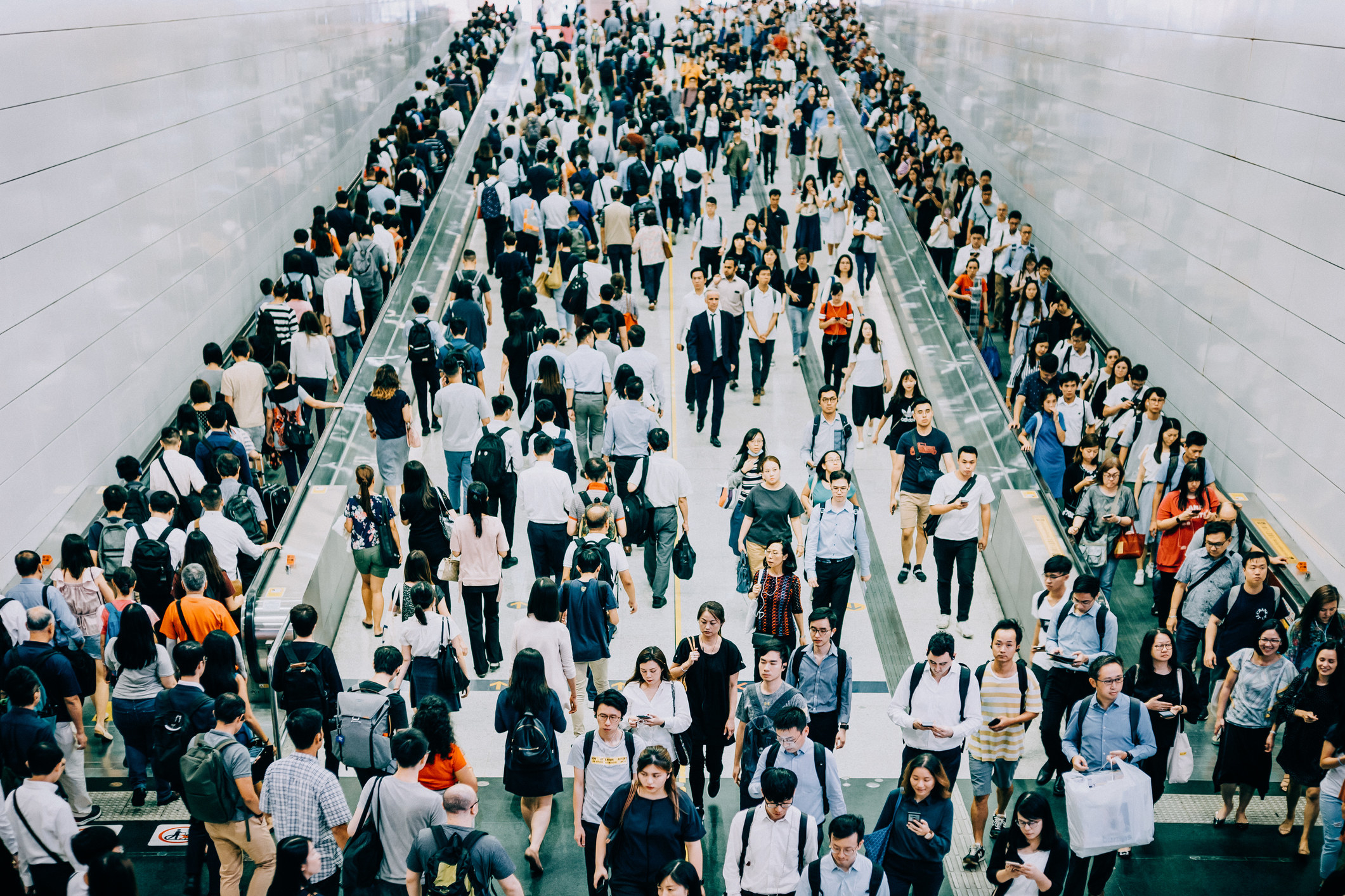 A crowded subway platform in China.