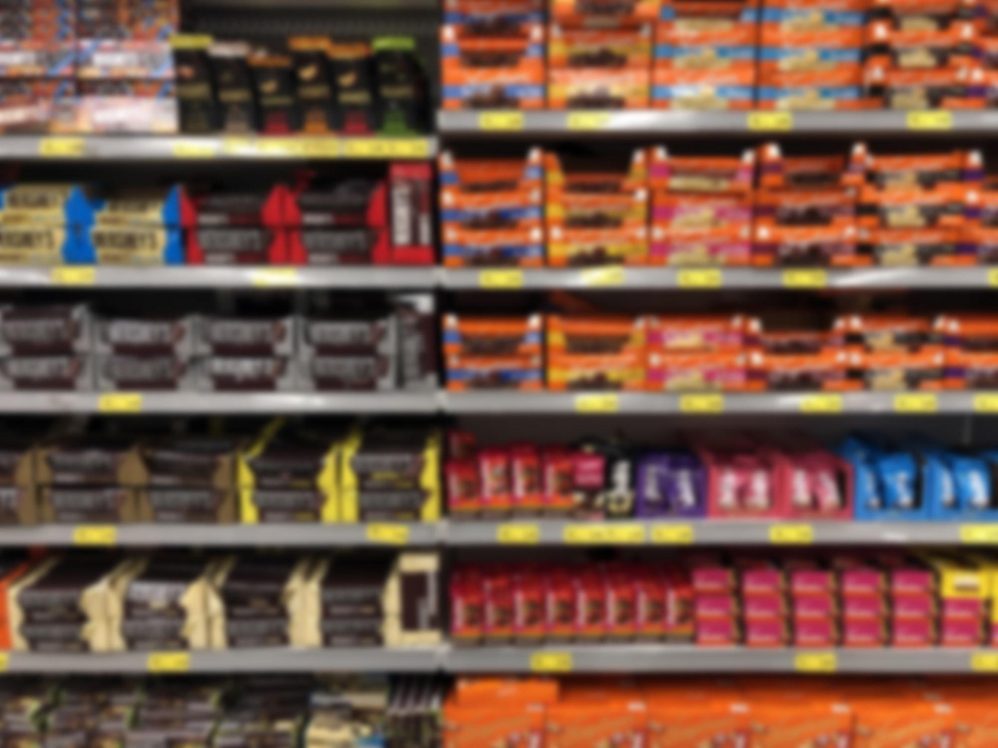 A shelf full of candy.
