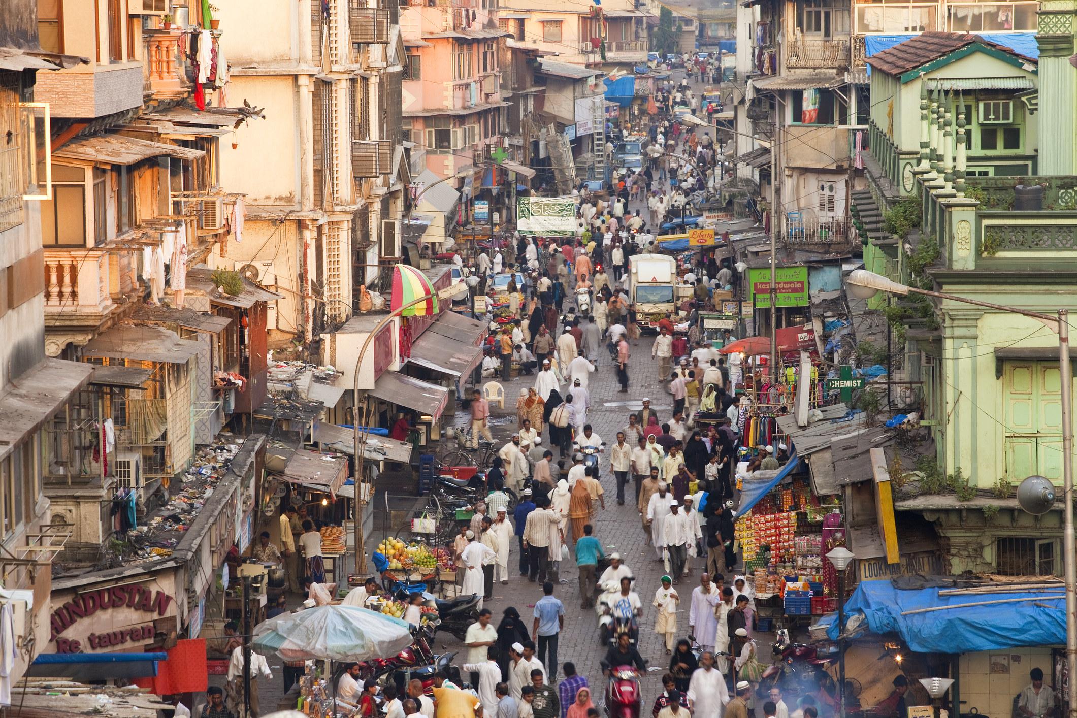 A busy street in Mumbai, India.