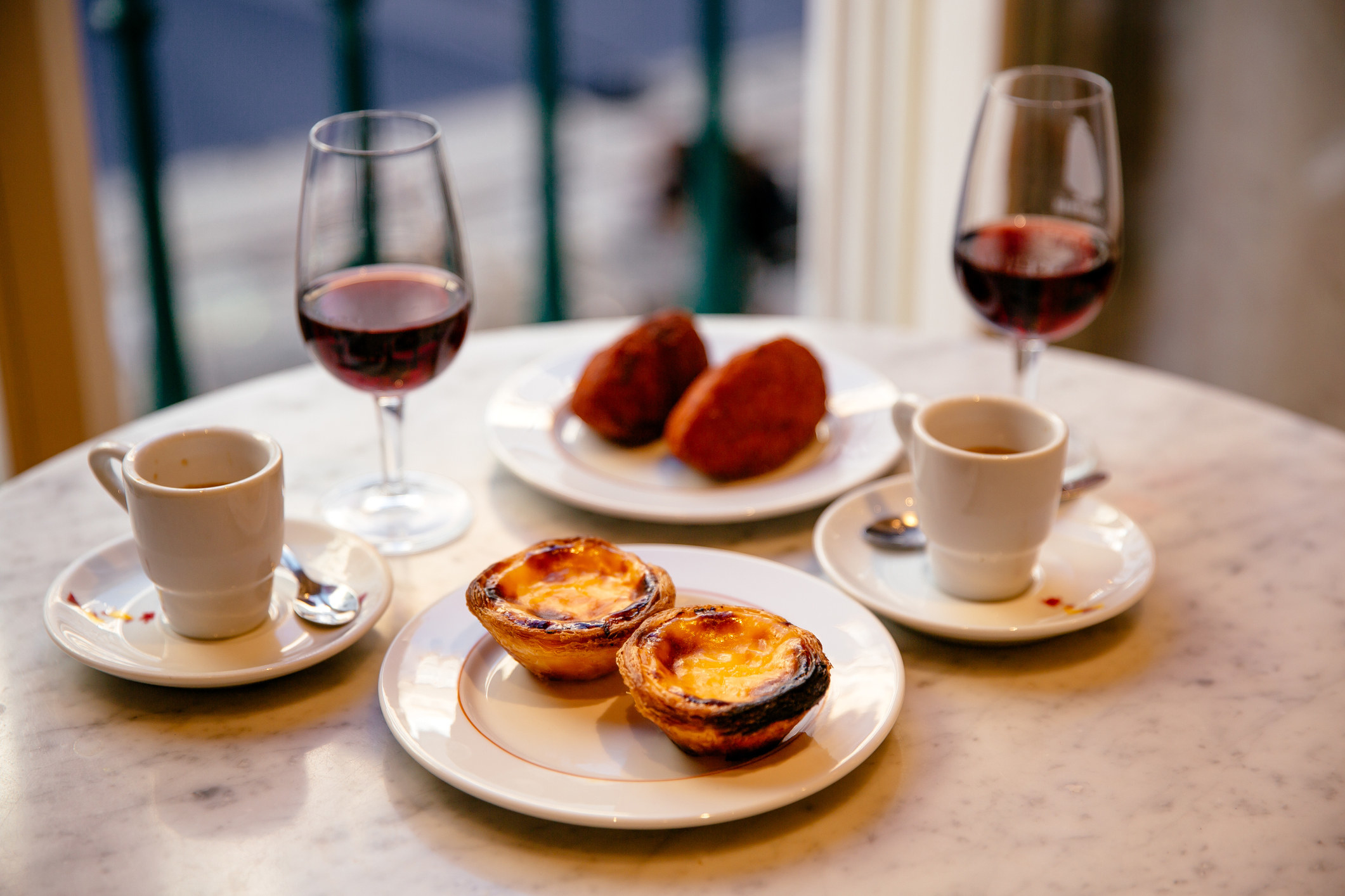 Wine and snacks in Portugal.