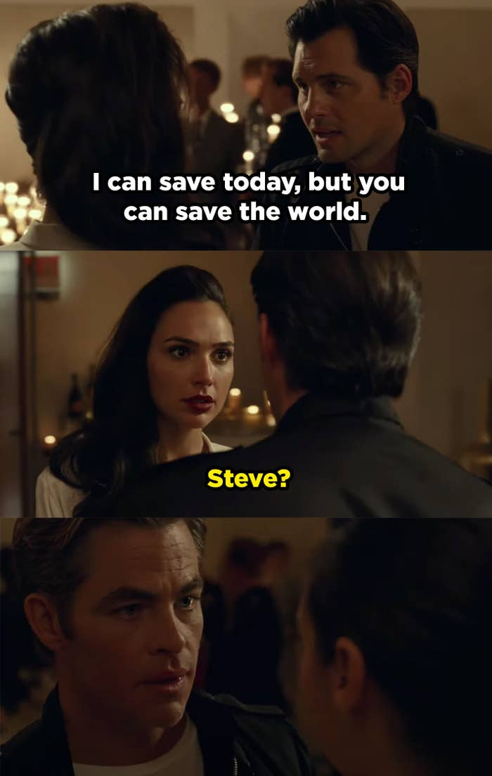 """A man stands in front of Diana saying """"I can save today, but you can save the world."""" Then he turns into Steve Trevor."""
