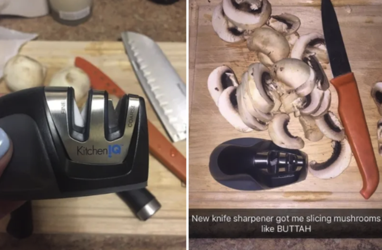"""closeup of sharpener and a shot of mushrooms sliced with a knife sharpened with the sharpener with caption saying """"new knife sharpener got me slicing mushrooms like buttah"""""""
