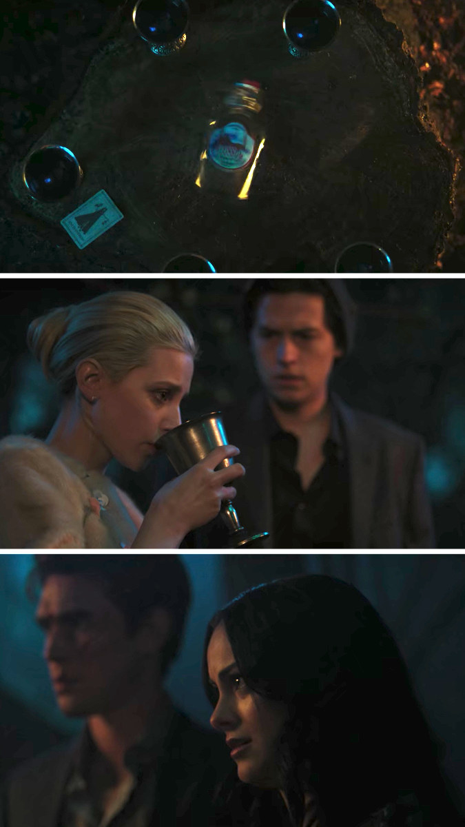 Veronica watches as Betty drinks from the chalice