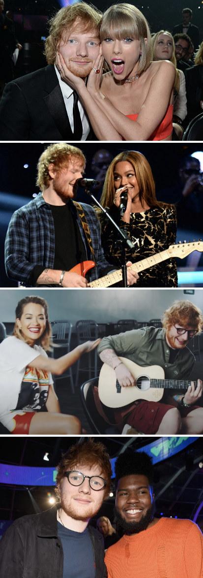 "Sheeran and Taylor Swift at the 2016 Grammy awards; Sheeran and Beyoncé performing at ""Stevie Wonder: Songs In The Key Of Life"" in 2015; Sheeran and Rita Ora performing ""Your Song;"" Sheern and Khalid at the MTV Video Music Awards in 2017"