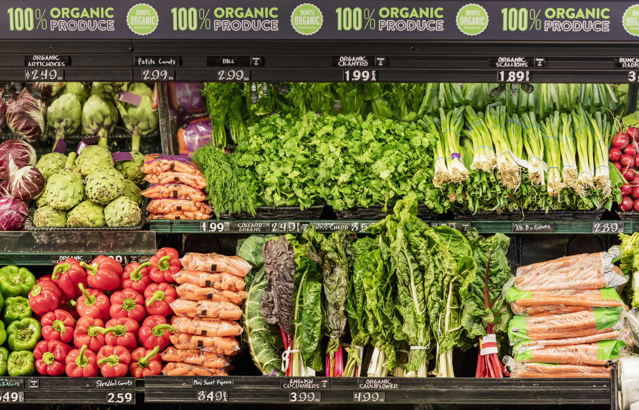 The produce aisle at a market.
