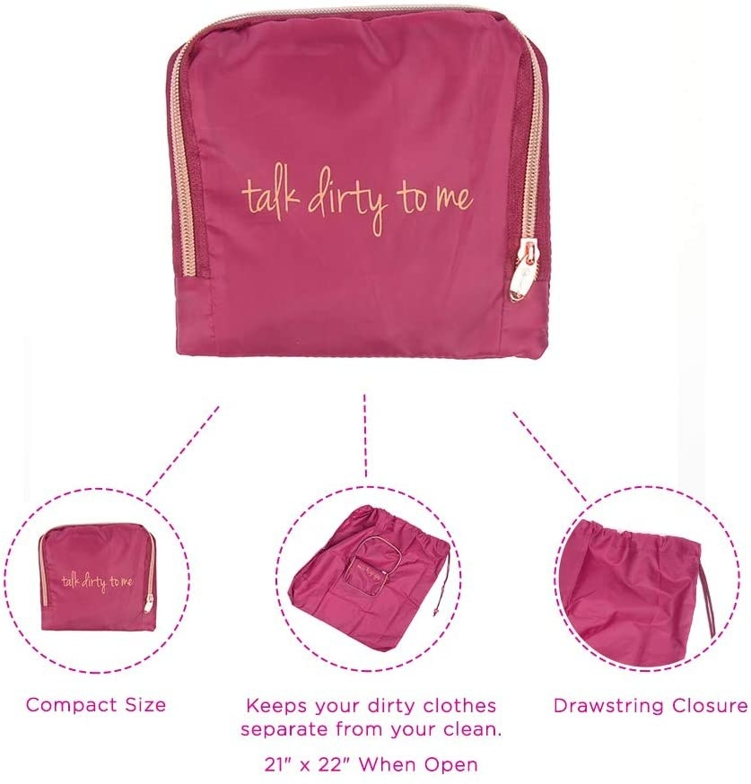 """pink zippered bag that says """"talk dirty to me"""" that expands out into a larger laundry bag"""