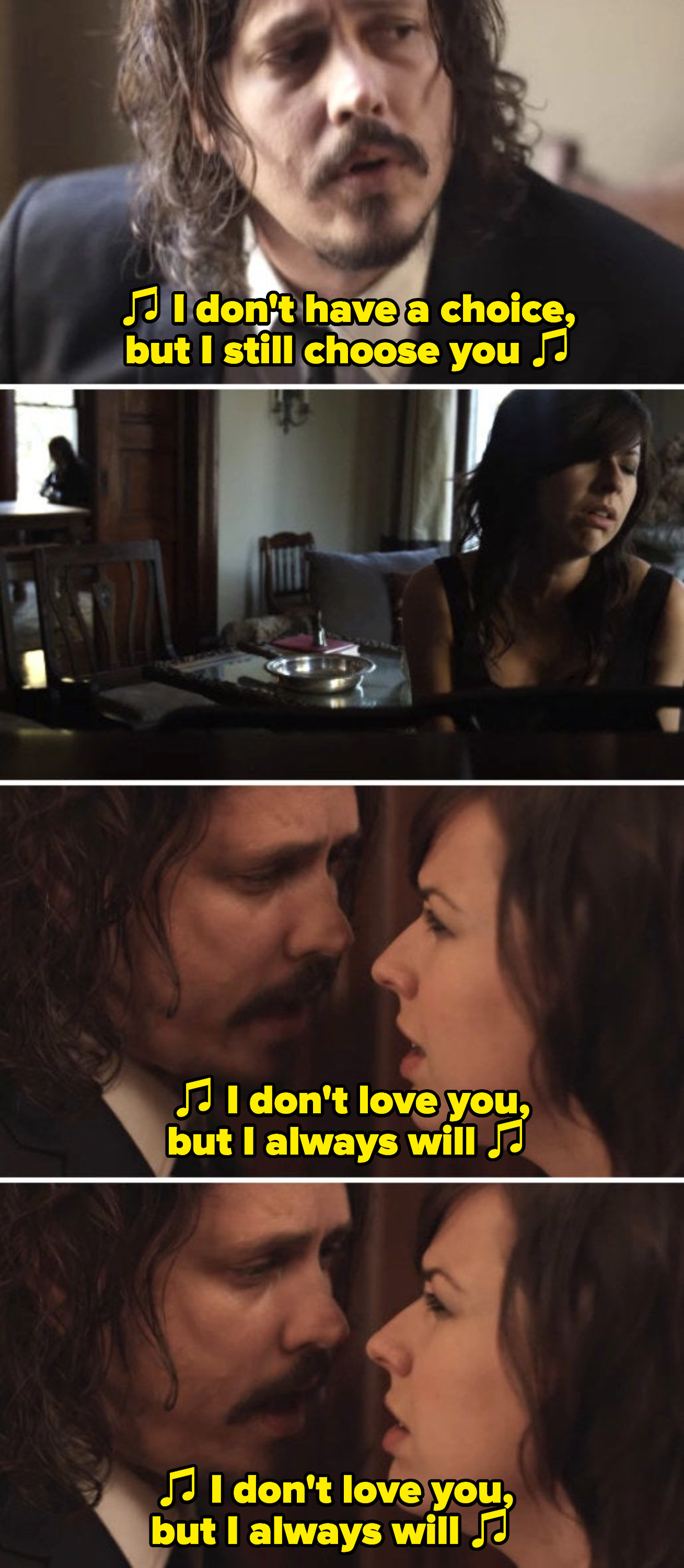 """The Civil Wars in their """"Poison & Wine"""" music video, singing: """"I don't love you, but I always will"""""""