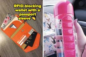 passport wallet and pill water bottle