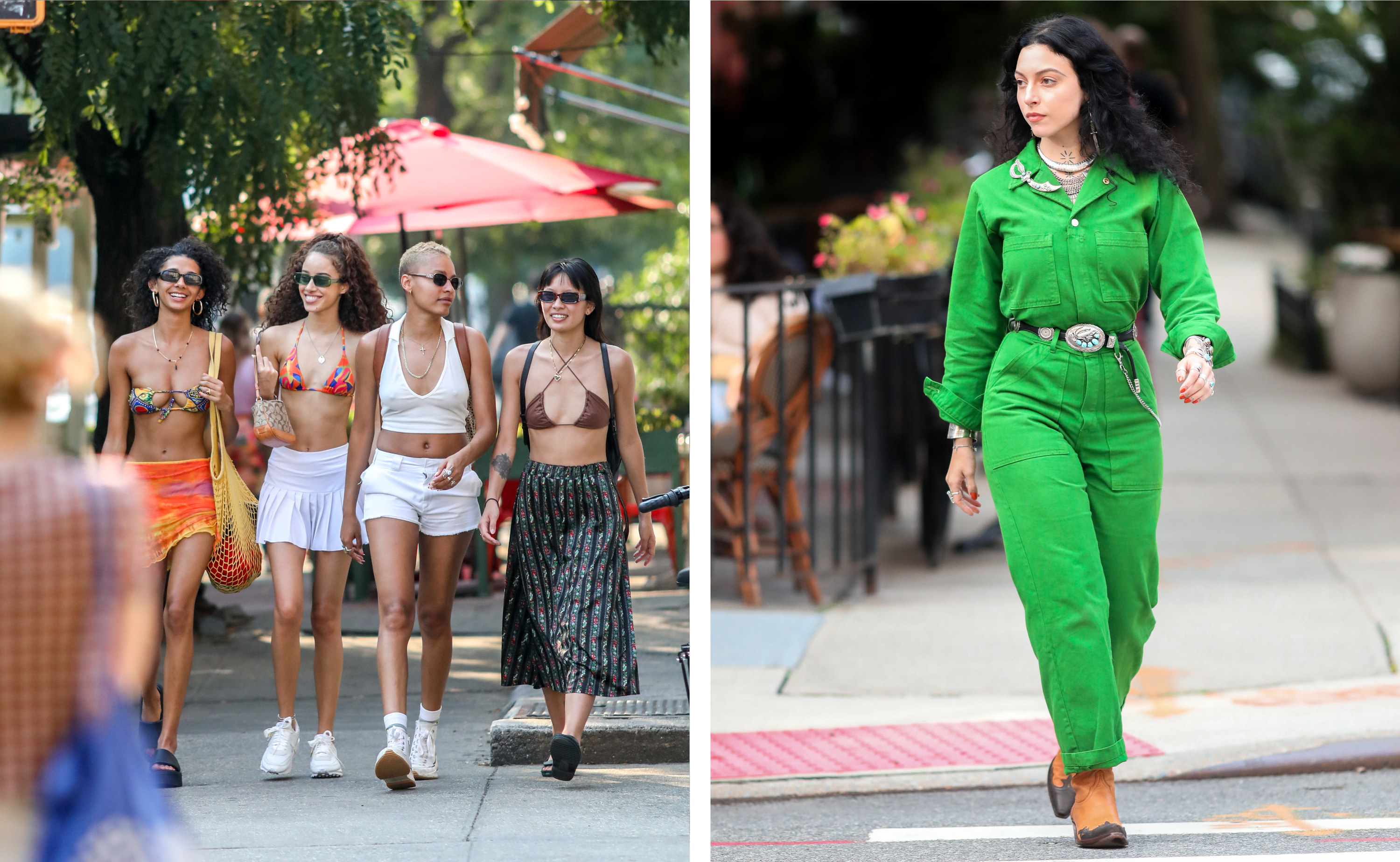Left, a group of four women in summer clothing, right a woman crossing the street in a green jumpsuit