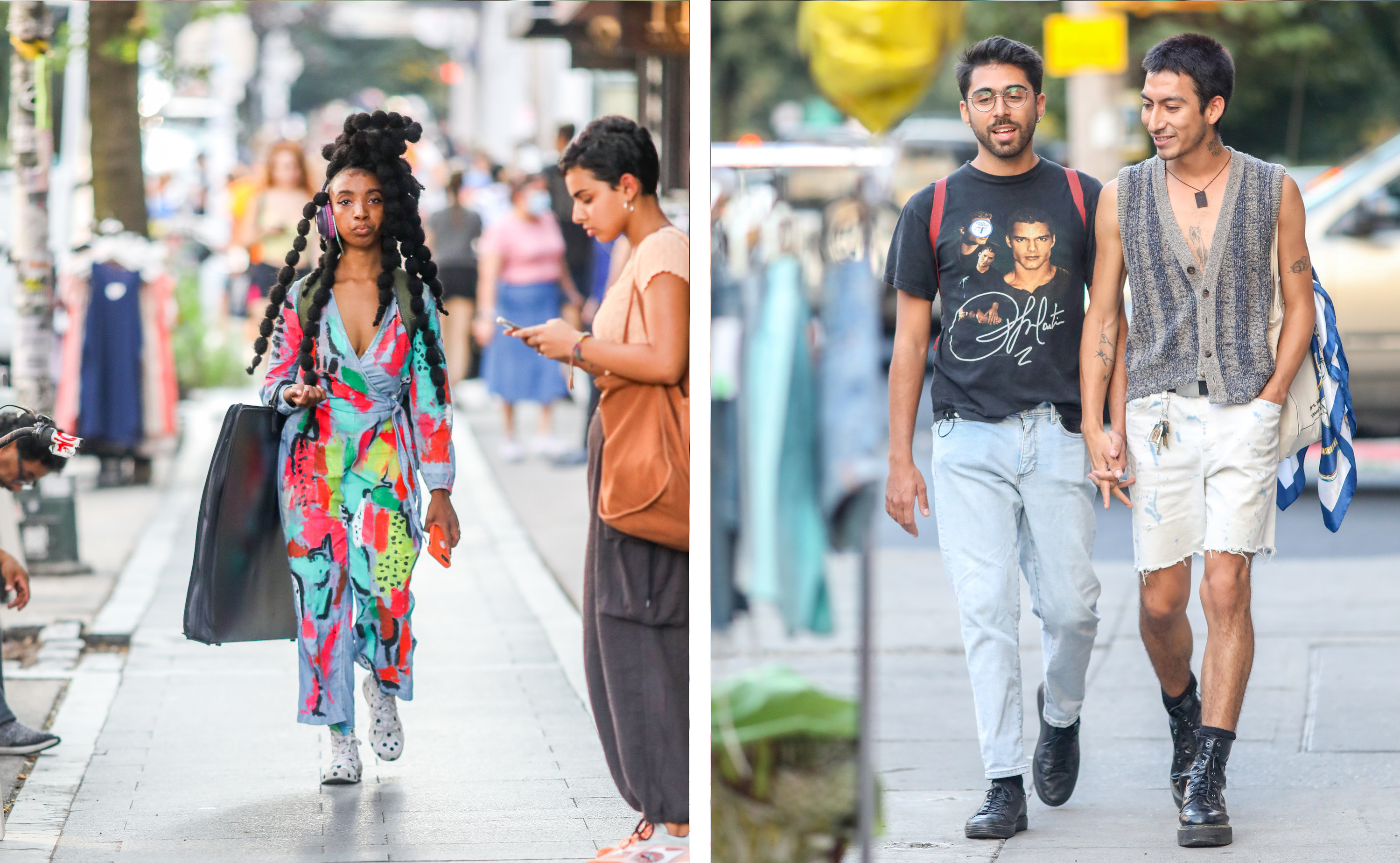 Left, a woman in a handpainted jumpsuit, right, two men hold hands as they walk down the street