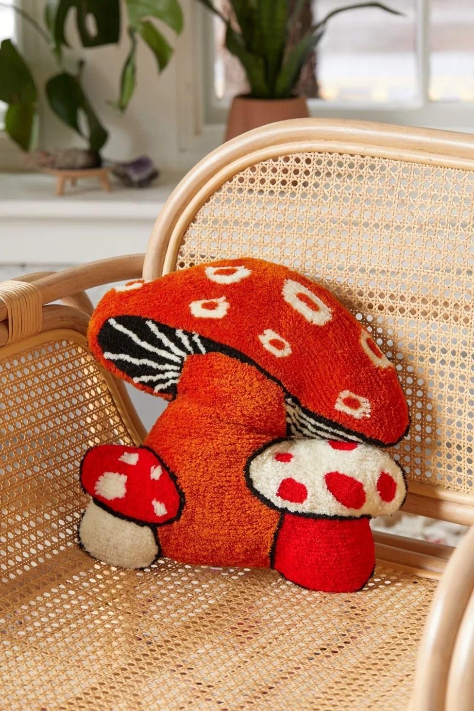pillow shaped like three mushrooms