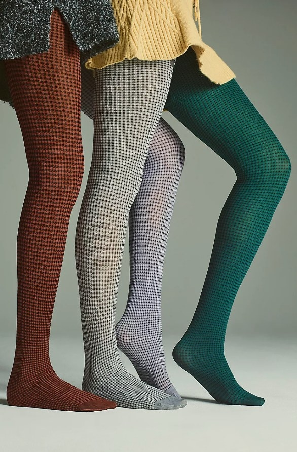Red, grey, purple and green checkered patterned tights