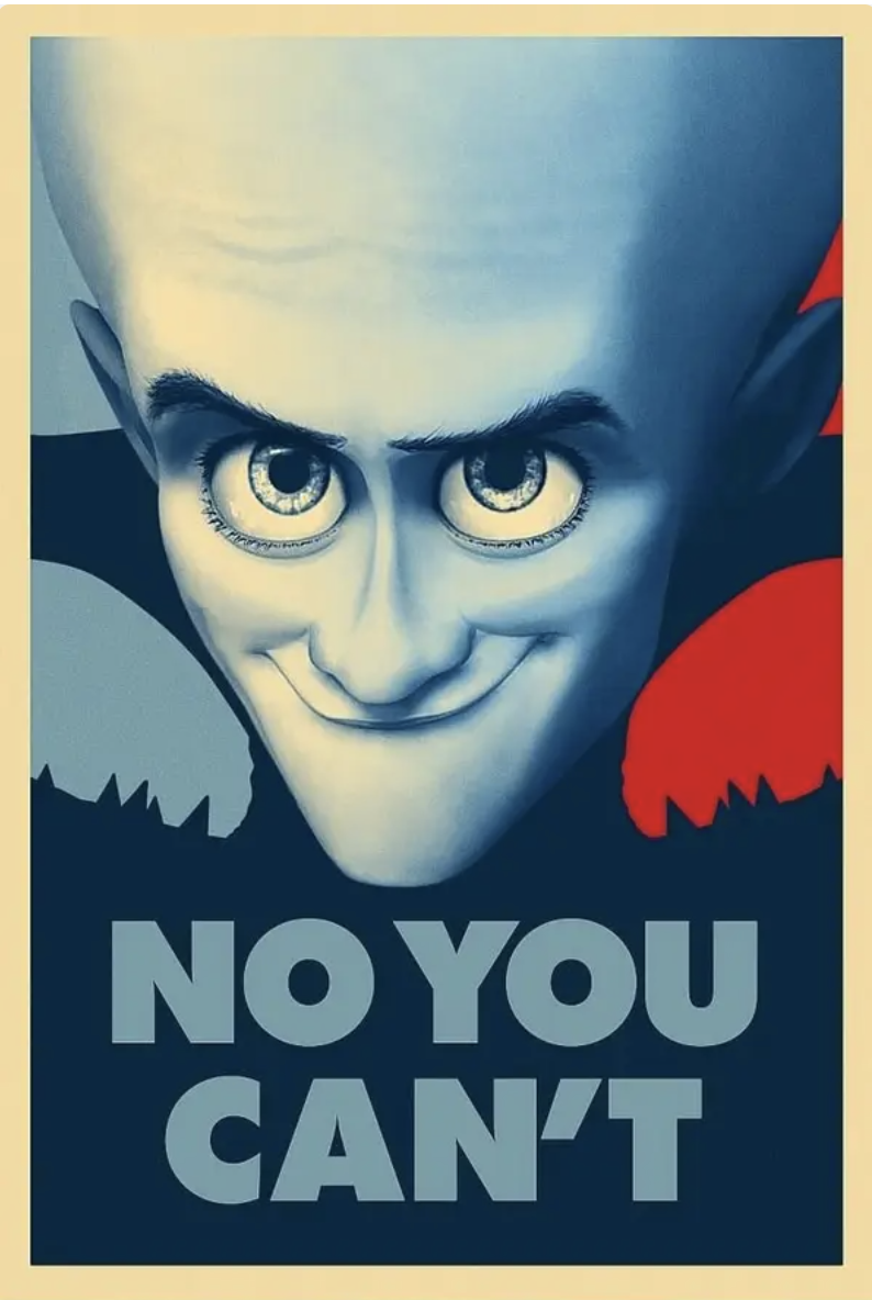 """poster of megamind saying """"no you can't"""""""