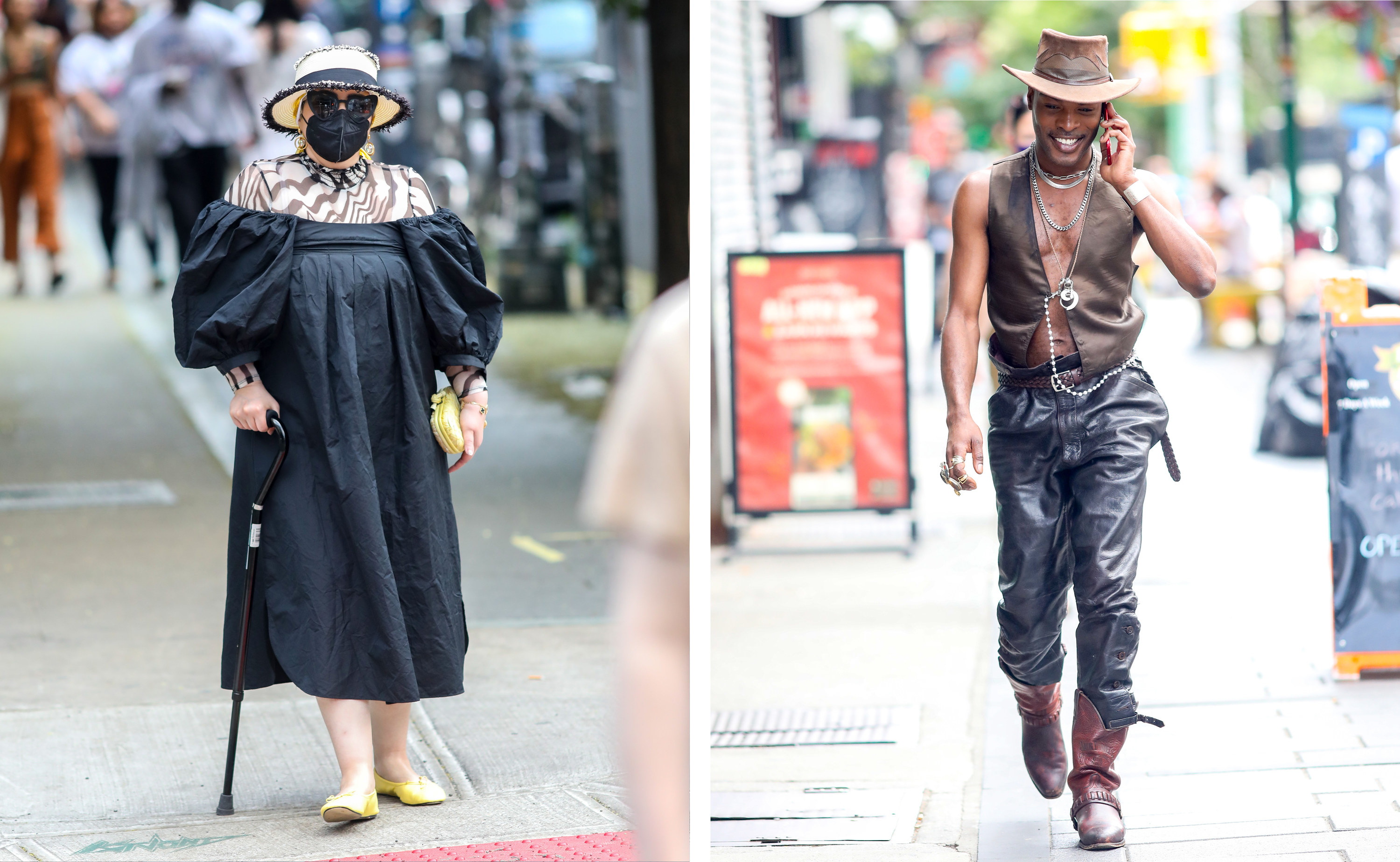 Left, an older woman in a mask and hat leans on a cane, right, a man dressed in cowboy gear talks on the phone as he walks down the street