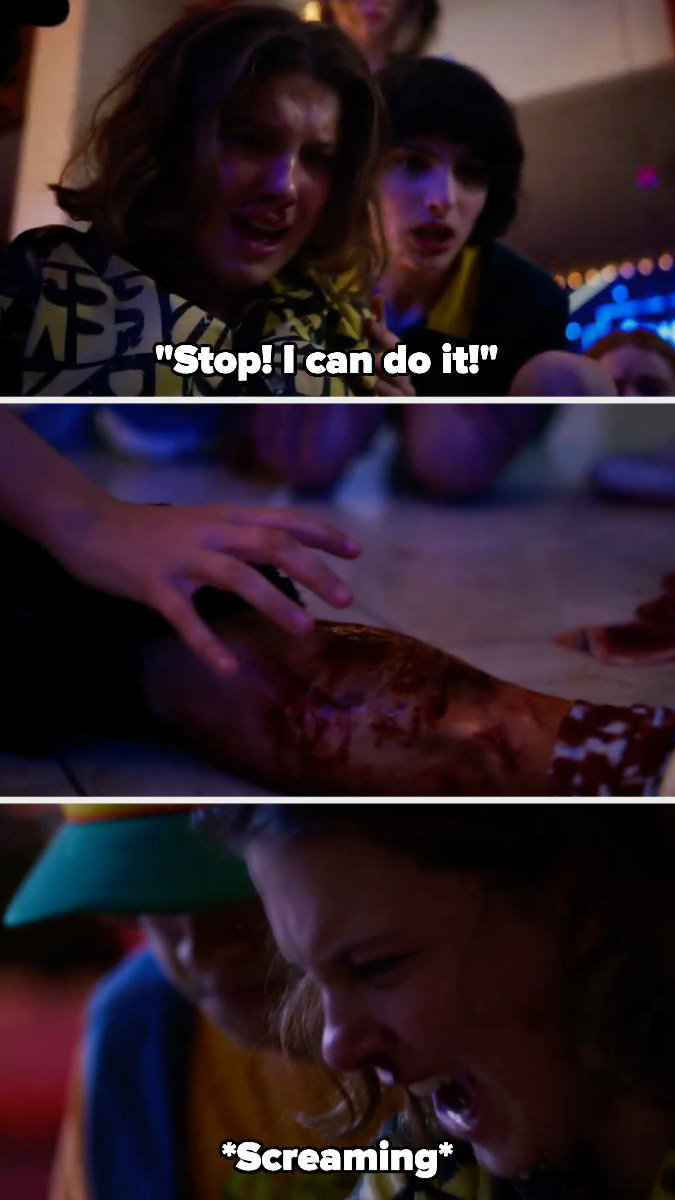 Eleven screams as she uses her powers to pull out the piece