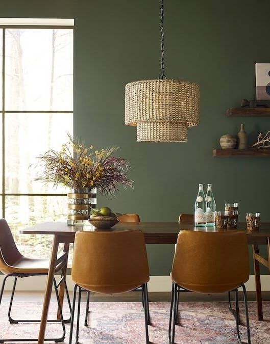 dining room with the two layer pendant lamp above the table