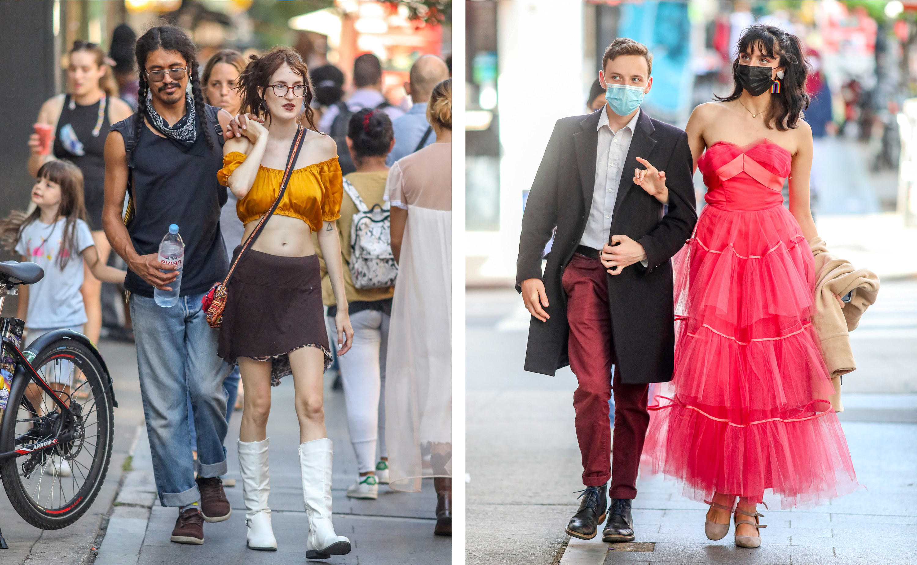 Left, a couple walk down a crowded street, right, a man and a woman in a fancy dress walk down the street