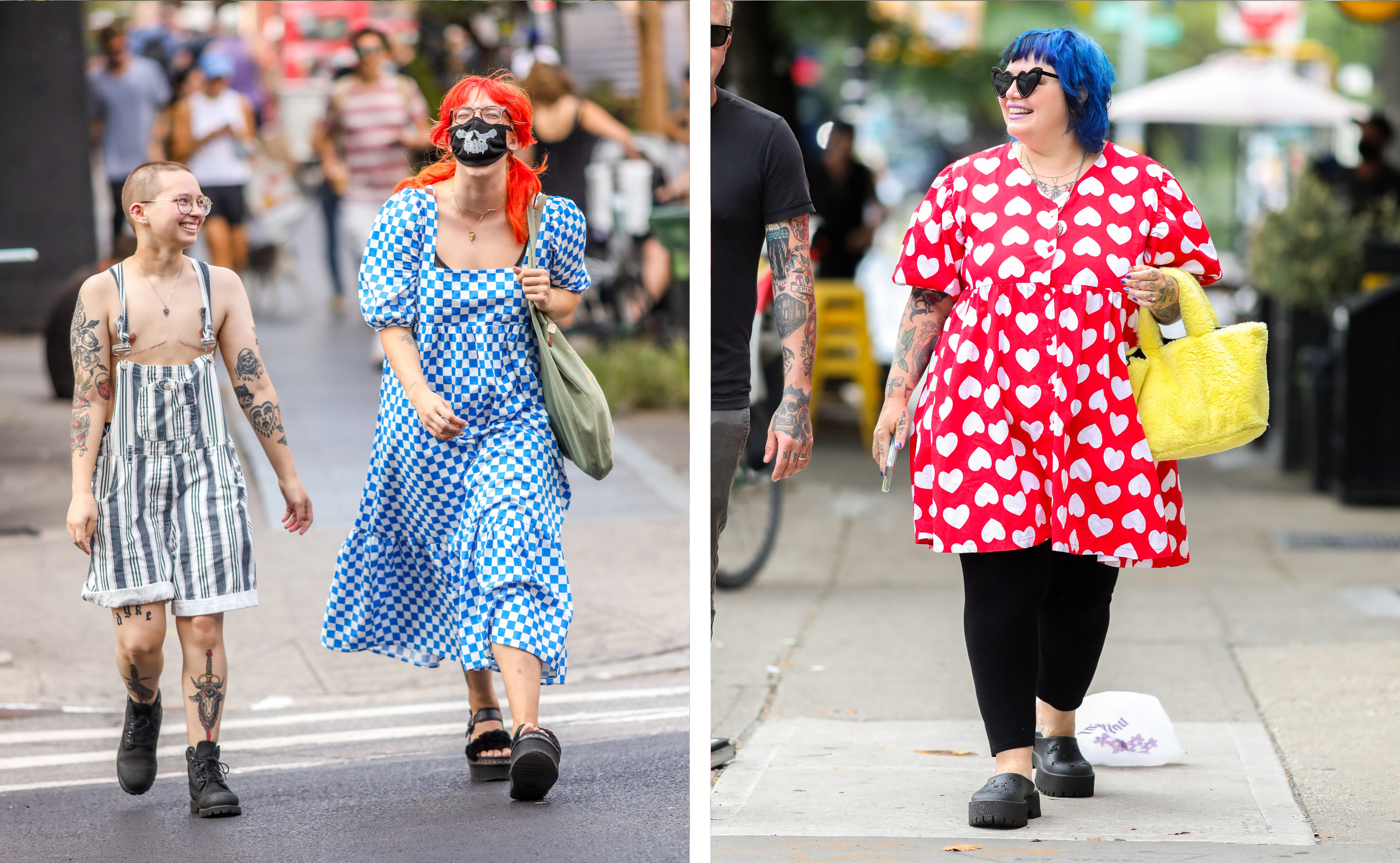 Left, two people in patterned clothes and black shoes cross the street, right, a woman in colorful primary colors and gucci clogs walks down the sidewalk