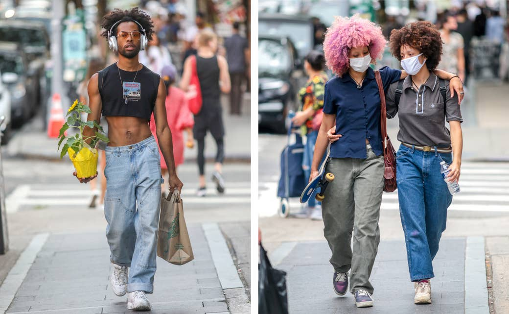 Left, a man in a crop top and jeans carrying a plant; right, two women embrace as they walk down a street, one carrying a skateboard