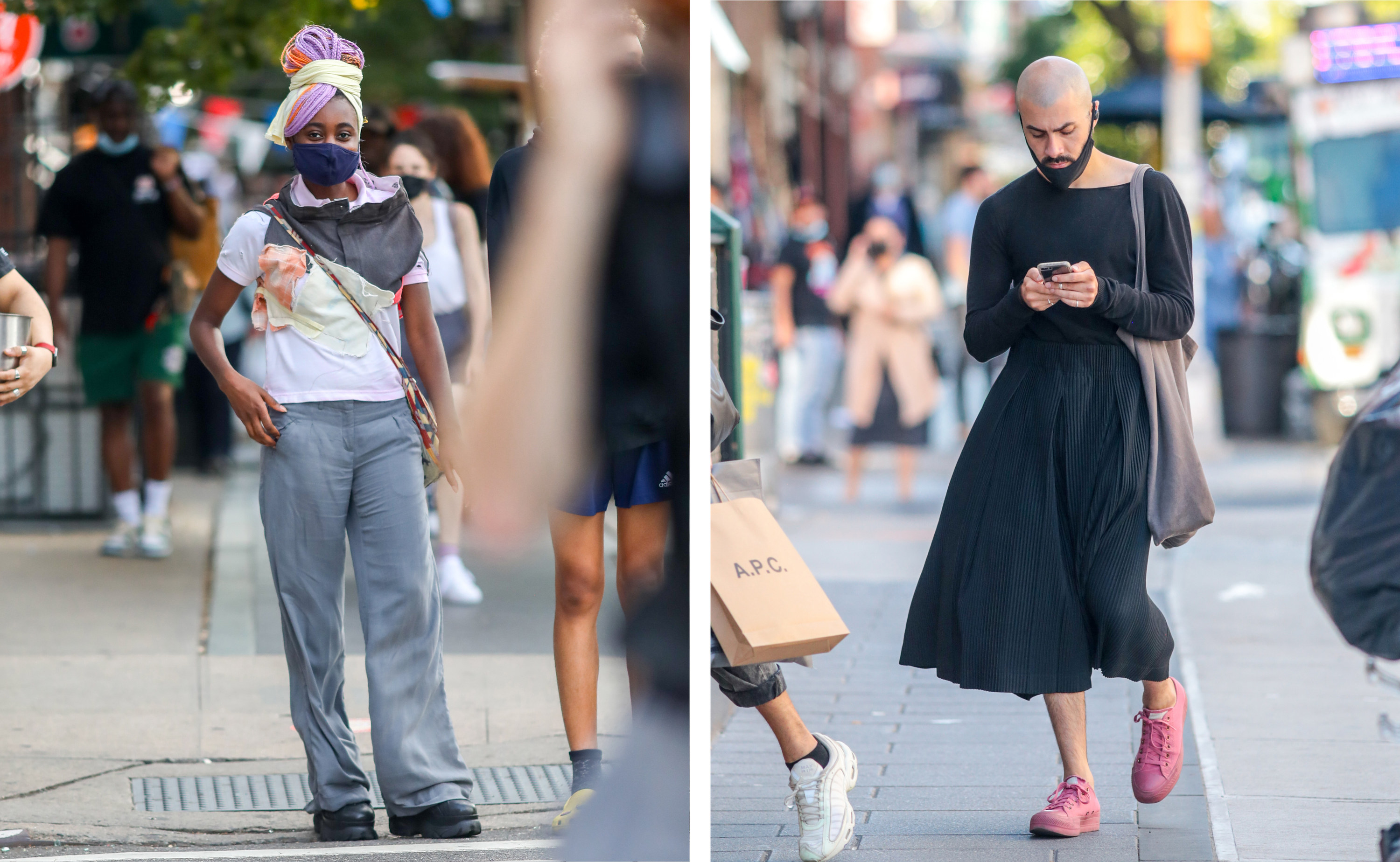 Left, a woman with a pair of pants cut off around her neck. right, a man in a black skirt looking at his phone as he walks down the street